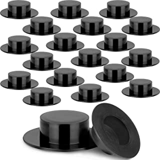 Boao 100 Pieces Mini Black Top Hats Christmas Plastic Miniature Top Hats for Crafts Snowman Hats Magician Hats for Snowman DIY Decoration Party Supplies (1.46 x 0.39 Inches)