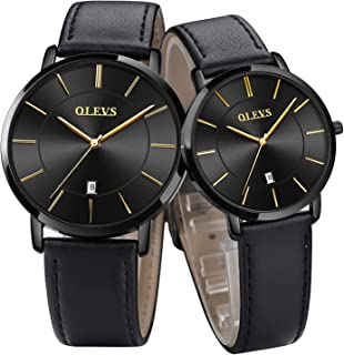 OLEVS Valentine's Romantic His and Hers Quartz Analog Wrist Watches for Couple Waterproof, Men and Women Lightweight Date Display Leather Watches Gifts Set for Lovers Set of 2
