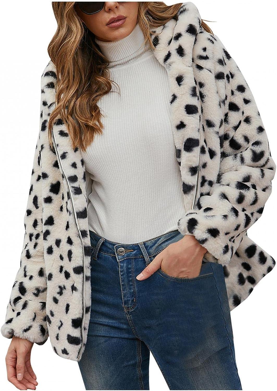 Misaky Womens Hooded Jacket Faux Fur Coat Long Sleeve Warm Winter Outwear Fuzzy Fleece Coat