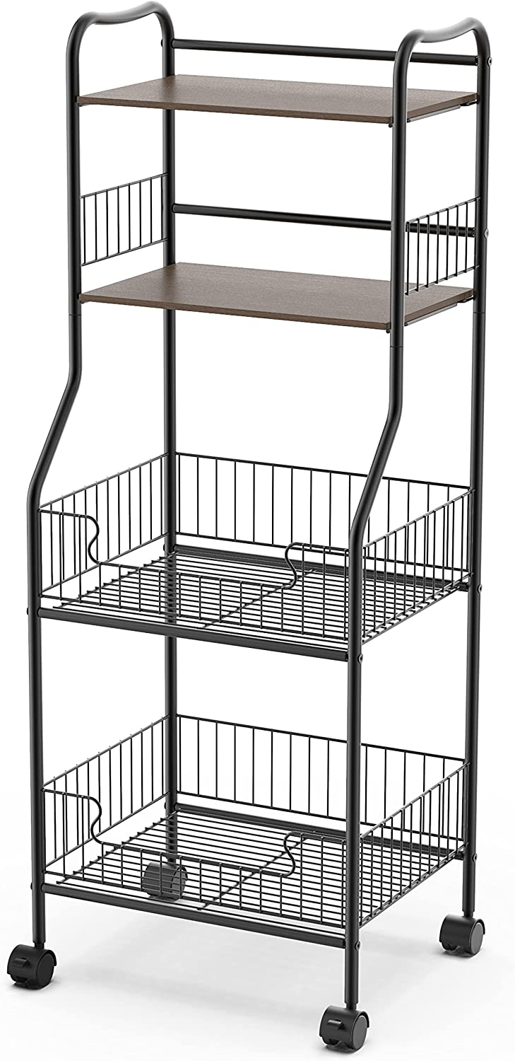 Kitchen Bakers Rack on Wheels Utility Shelf Rolling Storage Cart Max 56% OFF Max 85% OFF