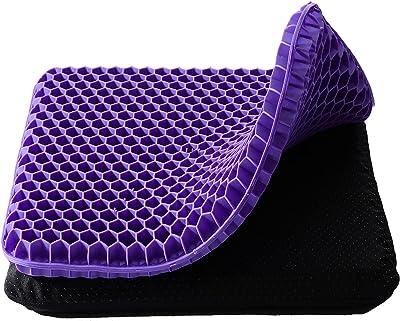 ゲルクッション ジェルクッション Beboore ゼロクッション ハニカム構造 二重 無重力 美尻 両面使用 通気 自宅 オフィス車椅子 洗える 布カバー 42X37X3.5cm パープル