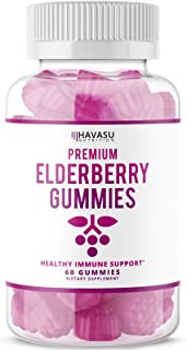 Havasu Nutrition Elderberry Gummies 100mg - Supports Immune System Health - Made with Plant-Based Pectin - No Gelatin, No ...