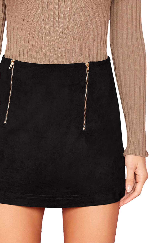 Floerns Womens High Waist Faux Suede Bodycon Pencil Mini Skirt