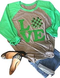 Love Clover Graphics Womens Shamrock St. Patrick Day Plaid Raglan 3/4 Sleeve Baseball Tee Tops
