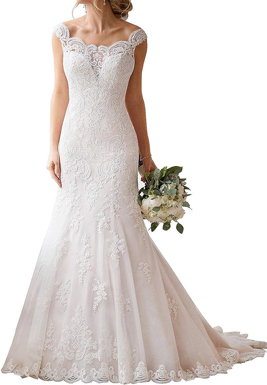 Yilian Off Shoulder Wedding Dresses for Bride 2018 Tulle Appliques Backless Bridal Gown
