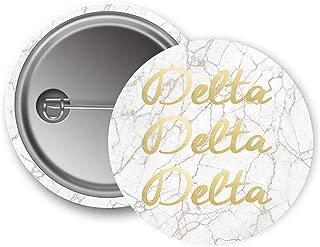 Delta Delta Delta Sorority Button Light Marble with Gold Script Pin Back Badge 2.25-inch Button Tri Delta