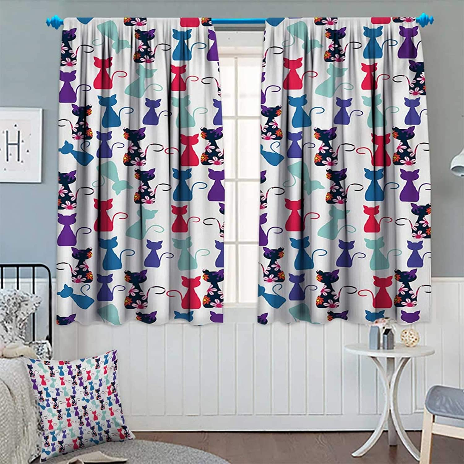 Cat Print,Blackout Curtain,Baby Animals in colors with Flowers Cute Funny Kittens Artistic Pattern Print,Thermal Insulating Curtain,Multicolor,W55 x L63 inch