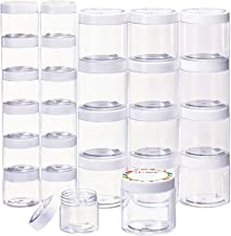 Empty 24 Pack Slime Containers with Water-Tight Lids, 12 6oz and 12 2oz Plastic Storage Jars with Labels for Slime Making,...