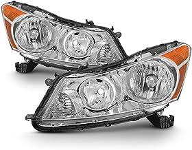 For 2008 2009 2010 2011 2012 4-Door Sedan Honda Accord Chrome Clear Driver & Passenger Side Headlights lamps