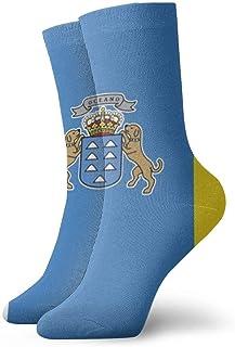 Bandera de las Islas Canarias Calcetines de tobillo personalizados Medias atléticas Calcetines casuales 30cm Para hombres Mujeres