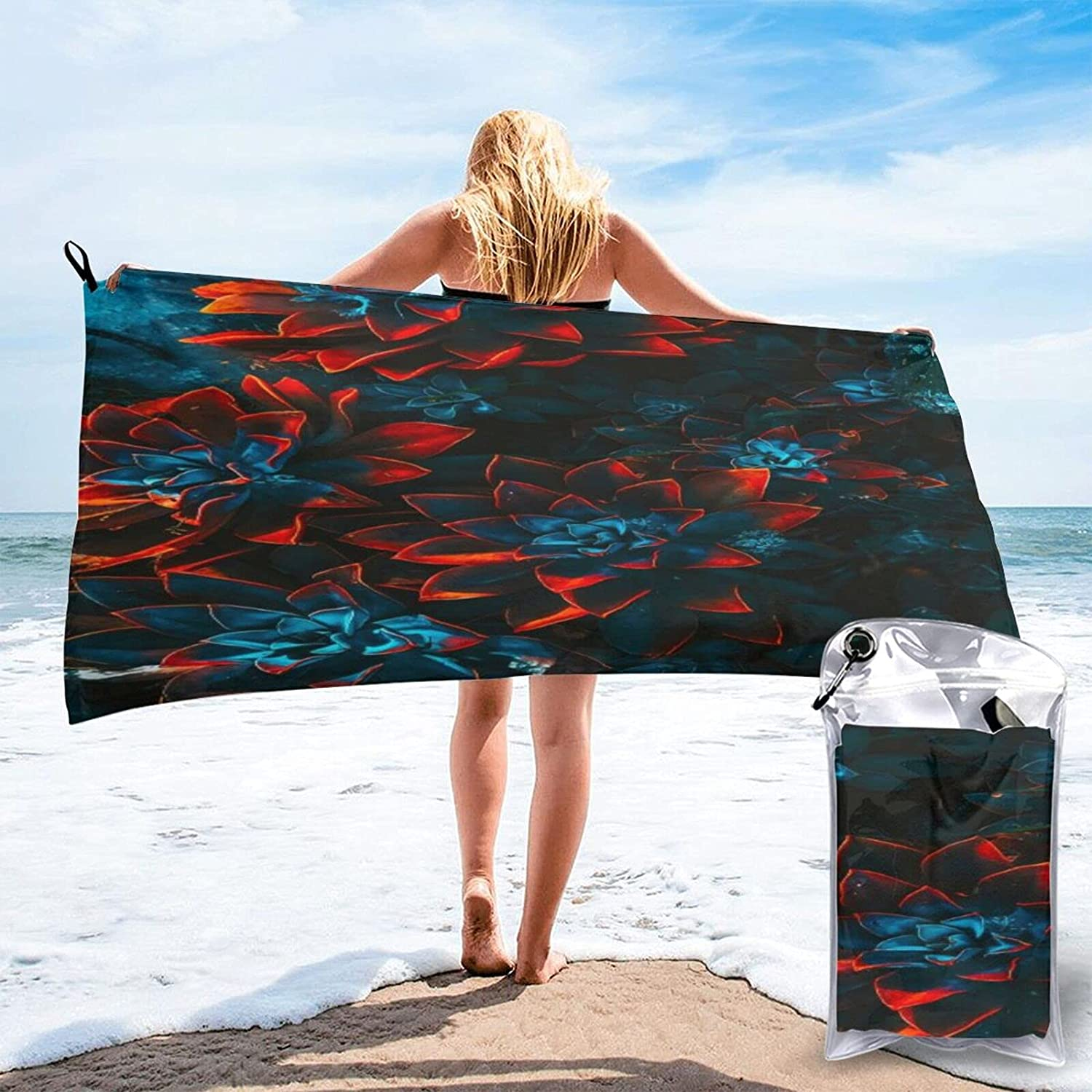 Blue and Red Flowers Microfibre Pool D Attention brand Free shipping anywhere in the nation Towels Travel Quick Beach
