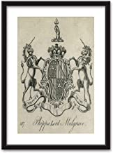 Coat of arms Phipps Lord Mulgrave Bedroom Black and White Structure Canvas Prints,095679 for Home Decoration Ready to Hanging,23''x31''