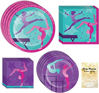 Gymnastics Birthday Party Supplies, Pink & Purple Design, 16 Guests, 65 Pieces, Disposable Paper Dinnerware, Plate and Nap...