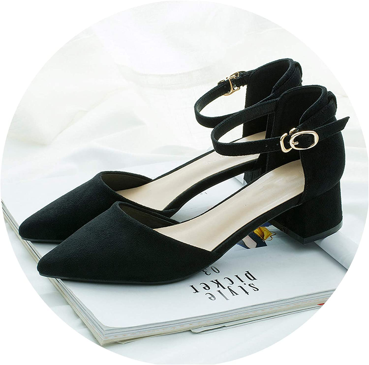 Word Buckle Hollow Suede Single shoes Thick with Pointed Toe High Heels Women