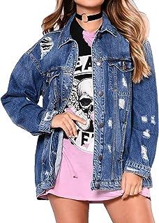 ملابس جينز للنساء من SOMTHRON بنمط ممزق معطف الربيع الخريف جينز خارجي دمر دينيم جاكيت