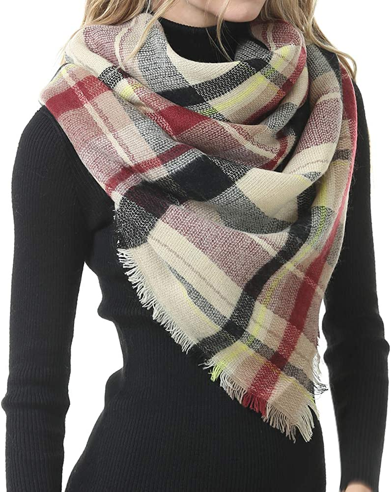Warm Stylish Elegant British Style Color Large Tartan Scarf Winter Plaid Blanket Scarf for Women