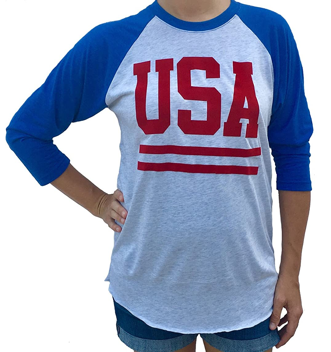 Women's USA with Stripes 3/4 Sleeve Tri Blend Raglan Tshirt White with Blue Sleeves