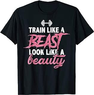 Train Like A Beast Look Like A Beauty Shirt Gym Tee Pink