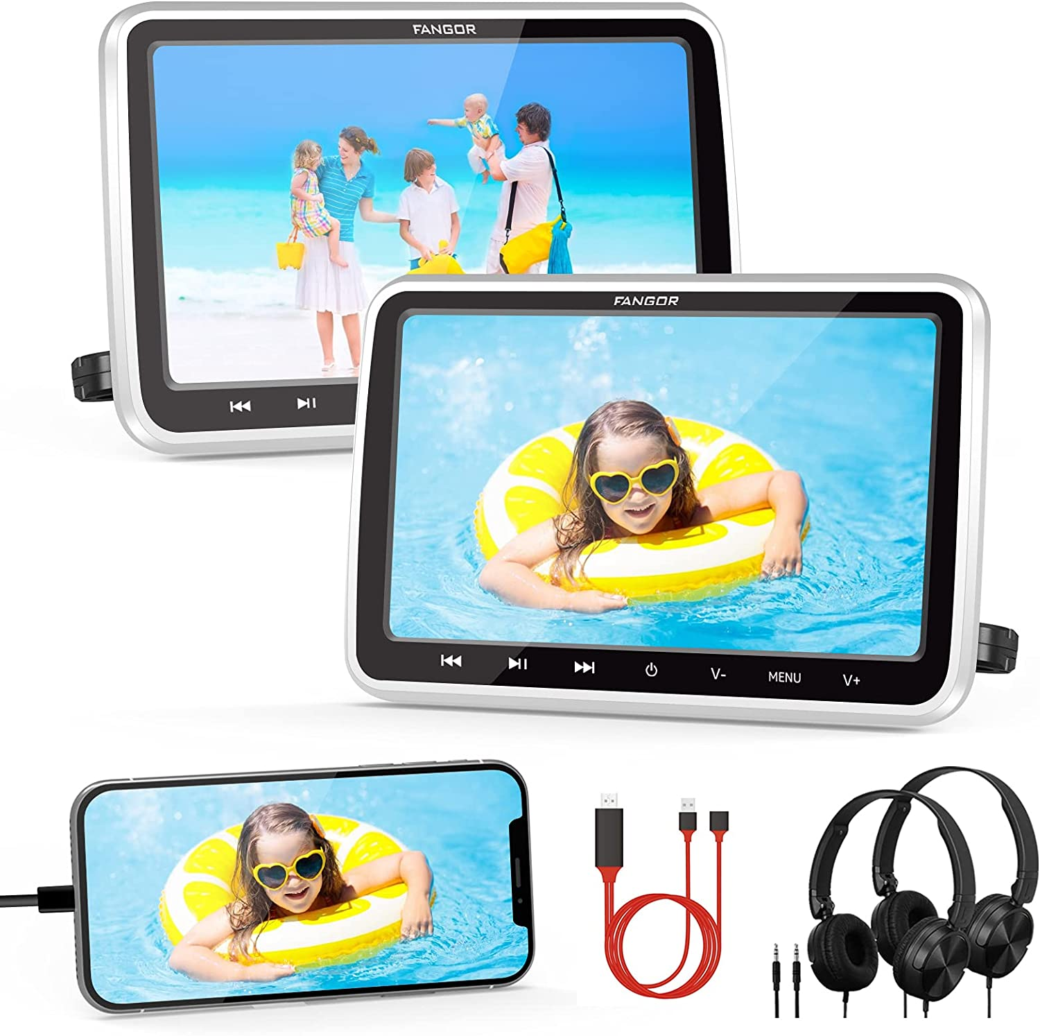 FANGOR Car DVD Player Dual Screen 2 HDMI Headrest A NEW surprise price is realized Input with Mou
