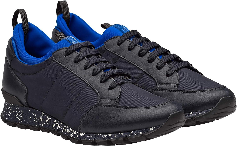 Prada Men's Leather and Nylon Sneakers, bluee 4E3052