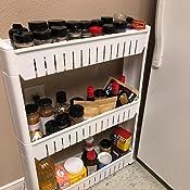 modern home narrow sliding storage organizer rack laundry bathroom kitchen portable storage shelves