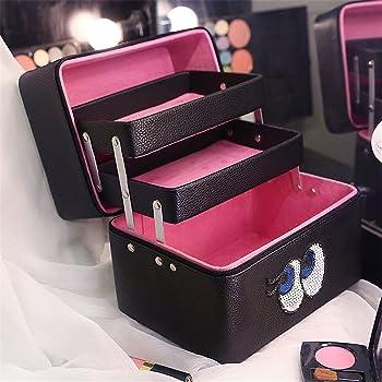FYX 化粧品収納 収納ケース コスメBOX メイク用品収納 小物入れ 大容量  取っ手付 携帯に便利 (ブラック)
