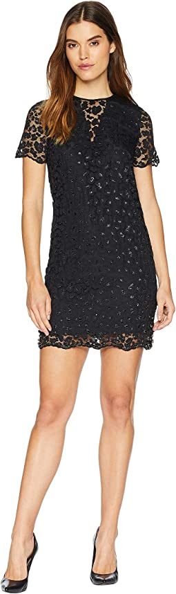 Soft Woven Leopard Lace Embellished Shift Dress