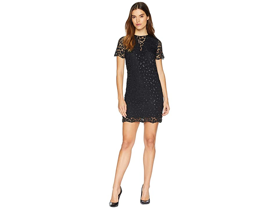 Juicy Couture Soft Woven Leopard Lace Embellished Shift Dress (Pitch Black) Women
