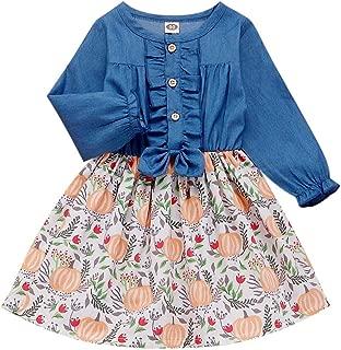Halloween Toddler Baby Girls Dress Ruffled Button Pumpkin Printed Long Sleeve Denim Princess Skirt with