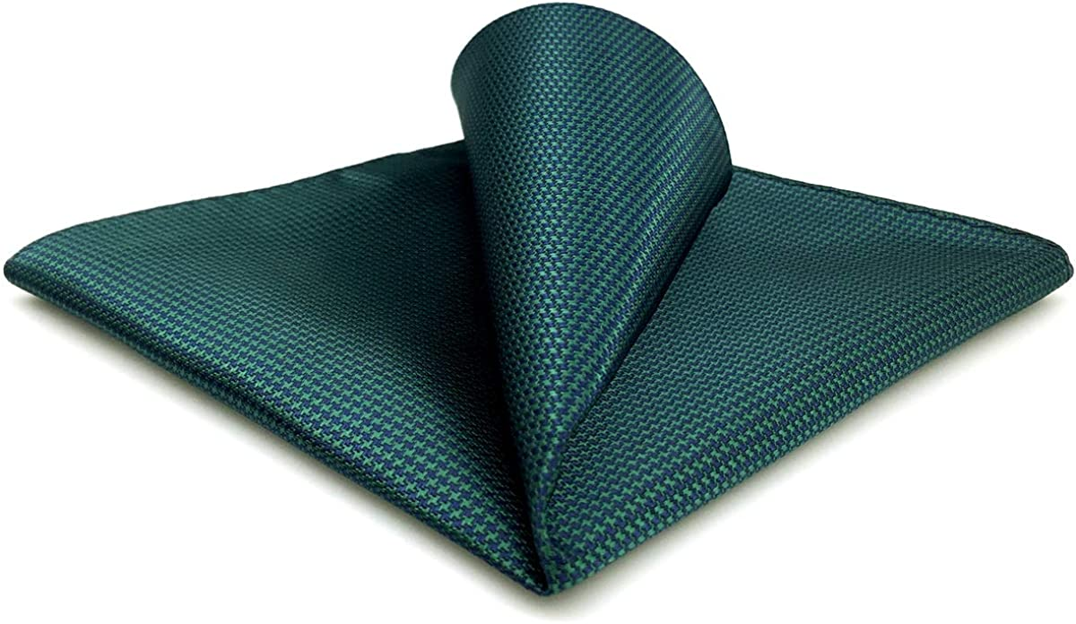 SHLAX&WING Solid Dark Green Mens Hanky Silk Pocket Square Large 12.6 inches