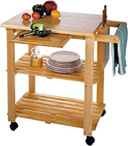 Rolling Butcher Block Cart, Origami Foldable Kitchen Island Cart, Collapsible Utility Carts on Wheels, Wheeled Wooden Kitchen Cart, Chopping Board Cart, Made of Natural Wood