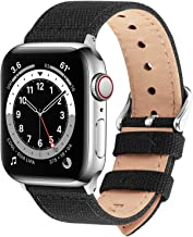 Fullmosa 8 Colores Lona Estilo Banda Compatible para iWatch/Apple Watch SE, Series 6/5/4/3/2/1, 38mm 40mm, Negro
