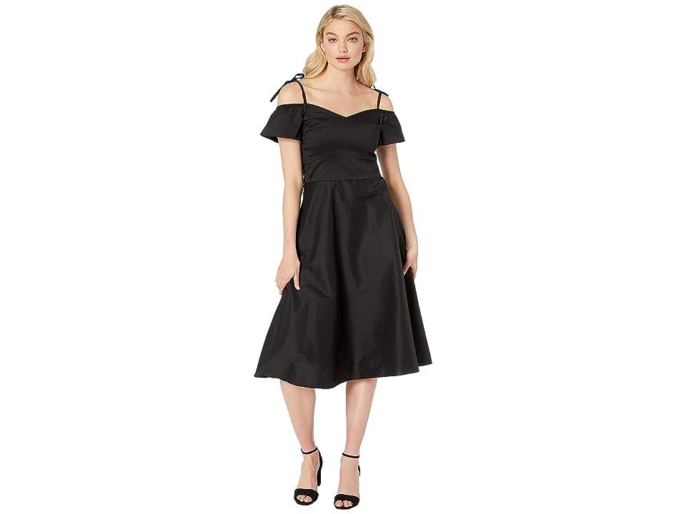 Betsey Johnson Cotton Tea Length Dress (Black) Women