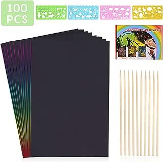 50 Gro/ße Bl/ätter Regenbogen Kratzpapier zum Zeichnen und Basteln Holzstiften und Stickern Kratzbilder Set f/ür Kinder 26 x 18cm mit Schablonen
