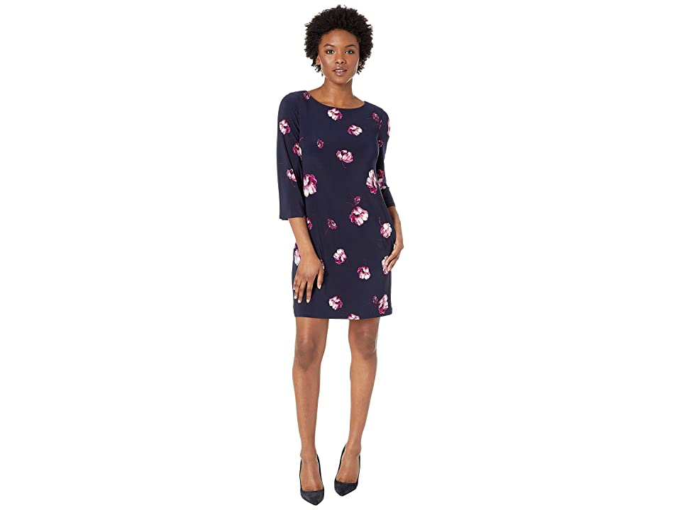 LAUREN Ralph Lauren Petite Bazzy B758 Ombra Floral Day Dress (Lighthouse Navy/Purple/Multi) Women