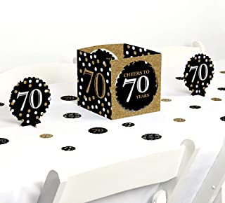 Big Dot of Happiness Adult 70th Birthday - Gold - Birthday Party Centerpiece & Table Decoration Kit