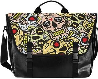 Bolsa de lona para cartero de Halloween con diseño de calavera de acuarela, unisex, de 15,6 pulgadas, estilo retro, para n...