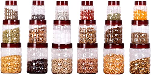 Cello Checkers Air Tight Pet Canister Set, 18-Pieces, Red product image