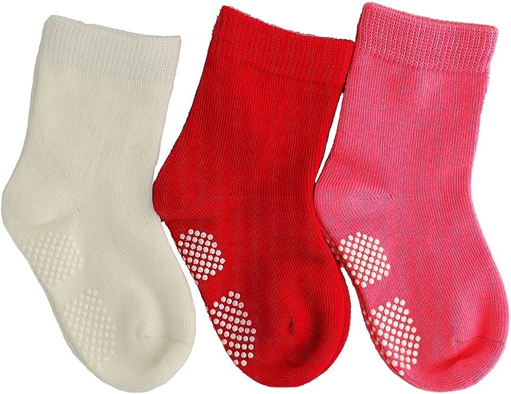June's Pony 3 Pairs Baby Girl Upside Down Anti-Slip Cozy Ankle Cotton Socks