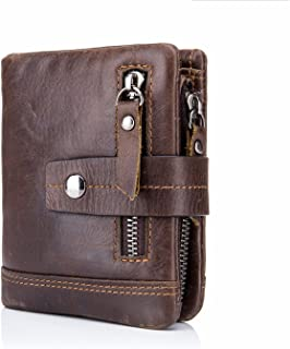 BULLCAPTAIN Men's Wallet Leather Front Pocket Bifold Wallets with Zipper Coin Pocket/Pouch QB-4