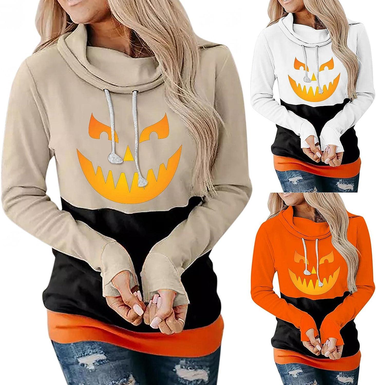 Women Hoodies Plus Size,Womens Pumpkin Print Halloween Sweatshirts Long Sleeve Hooded Pullover Tops Blouse