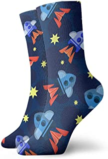 Luxury Calcetines de Deporte Missiles And Stars Pattern Unisex Socks, All-Season Lightweight Ankle Socks Crew Socks