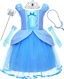 Princess Generic Costume for Toddler Girls Dress Up Party with Tiara and Wand