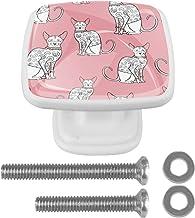 met Schroeven Vierkant voor Kast Kaptafel Witte Lade Trekt Handvat Cartoon Kat 4 Stks 30mm Kast Deurknoppen