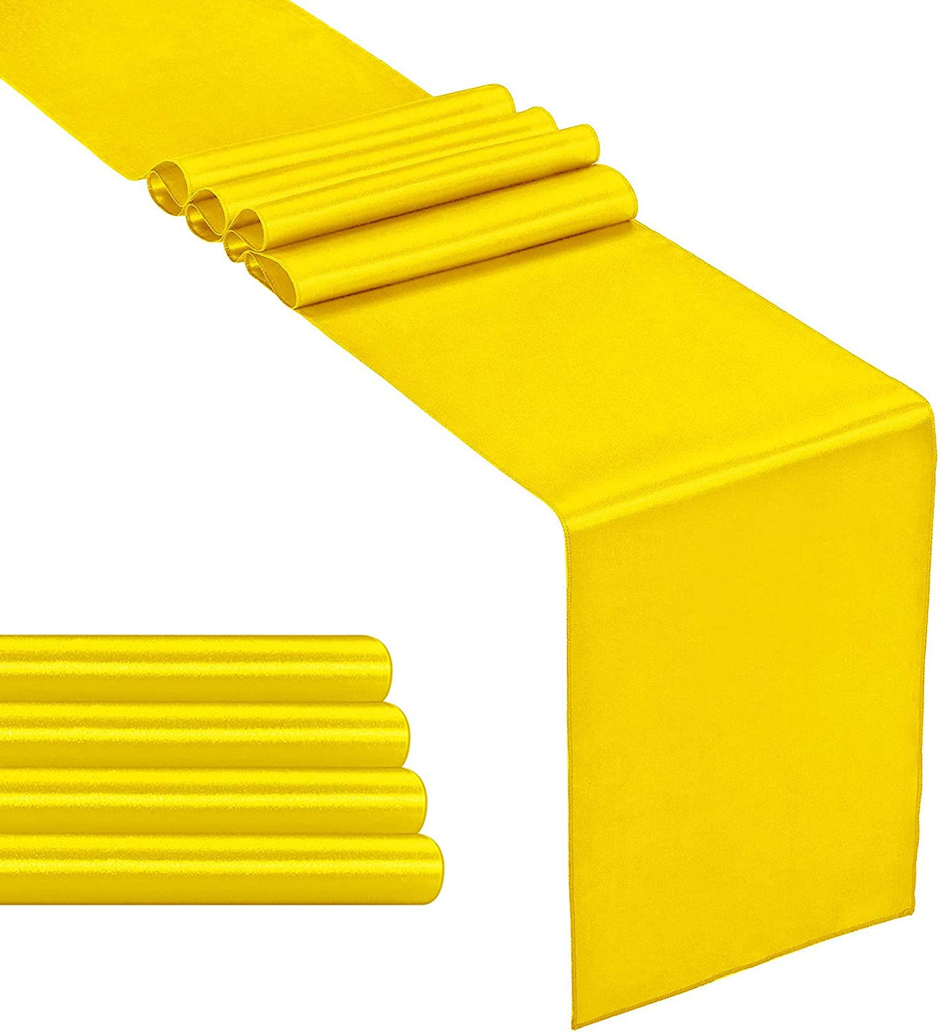 Hahuho 5-Pack Satin Table Runner Yellow 12 x 108 inches Long, Table Runners for Wedding, Birthday Parties, Banquets Decorations(5 Pack, 12x108 Inch, Yellow)