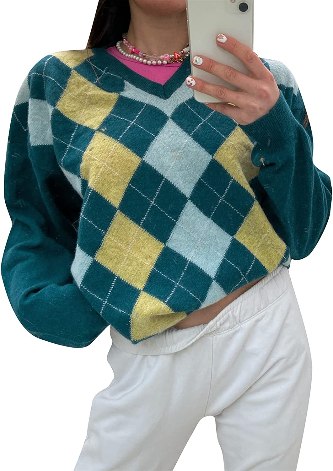 Women Argyle Plaid Sweater Pullover Long Sleeve Preppy England Style Y2K E-Girl Autumn Winter Sweater Top