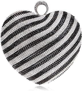 DIEBELLAU Women's Diamond Heart Gradient Color Dinner Bag Fashion Bridal Gown Banquet Clutch Bag (Color : Black, Size : XS)