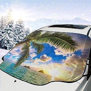 LYMT Frontscheibenabdeckung Scheibenabdeckung Hawaii Palme Auto Windschutzscheibe Abdeckung Faltbare für UV Strahlung, Sonne, Staub, Frost und Schnee 147 * 118cm
