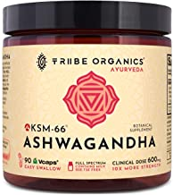 KSM-66 Ashwagandha Organic Capsules - NO Additives, Pure Root Extract - 90 Vegetarian VCaps - Highest Efficacy 5% Withanolides - Stress & Anxiety Relief, Cortisol Manager, Thyroid & Adrenal Support