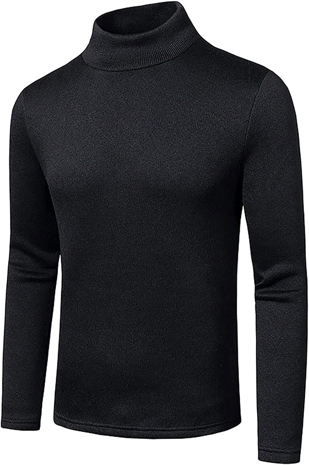 Men's Warm Cozy Casual Slim Basic Knitted Warm Half High Neck Pullover Sweaters